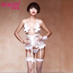 史黛丝情趣内衣11163  雪莲花束身三点式套装