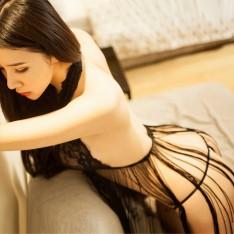 情趣内衣 性感流苏网纱睡衣 透视黑 露乳蕾丝诱惑套装